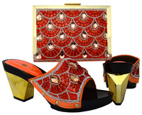 New fashion orange pattern African ship on high heel shoes and handbag for wedding/party BCH 17 multi color on sale