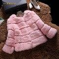 Подлинная кролика пальто женщин волны cut O шеи 3/4 рукава осень зима 2016 короткая конструкция реального кролика шуба женская куртка
