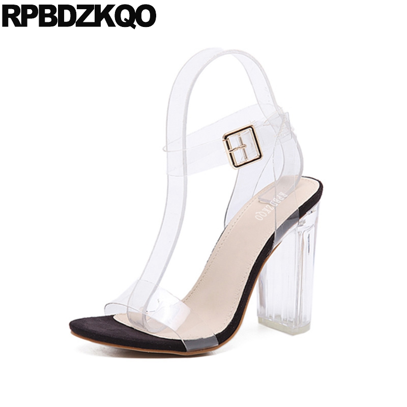 6d44d45b29f US $31.55 36% OFF|Cheap Thick Super High Heels Ankle Strap Women Pumps  Clear Sandals Shoes Pvc Perspex Sexy Slingback Transparent Ultra Open  Toe-in ...