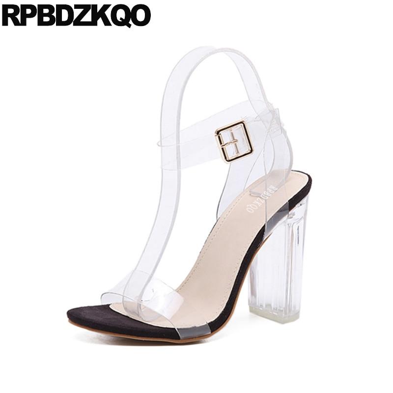 Pas cher épais Super hauts talons cheville sangle femmes pompes clair sandales chaussures Pvc Perspex Sexy Slingback Transparent Ultra ouvert orteil
