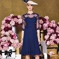 Navy Blue Mother Of The Bride Dresses  Knee Length Half Sleeve For Weddings madrinha de casamento Beach Weddings 2016