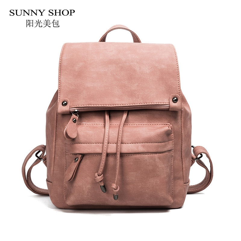 SUNNYS HOP Casual Fold Over Anti Theft Back Pack Solid Drawstring Backpack School Bag Vintage Candy Color Daypack PU Leather