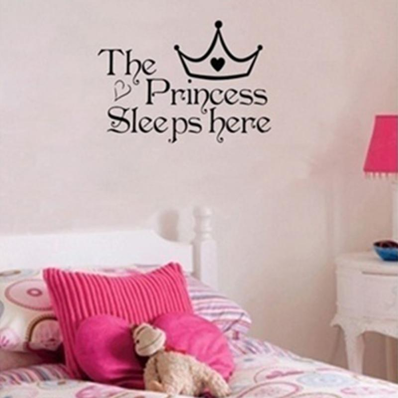 Crown English Letters The Princess Sleeps Here Wall Sticker For Children S Bedroom Home Decoration Accessories In Stickers From Garden On