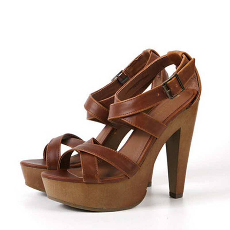 Square Cross Strap High Heels Shoes
