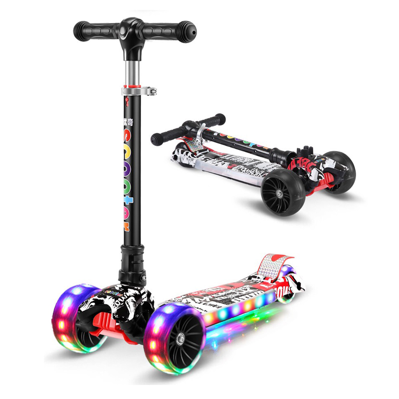 Children's Kick Scooter with Adjustable Height and Flashing Light