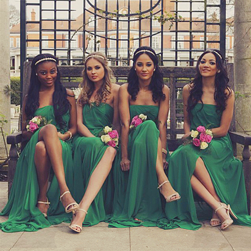 Ever Pretty Long Chiffon Junior Emerald Green Bridesmaid Dress Teens For A Floor Brides Maid Dresses Bridesmaids Robes With Slit In From