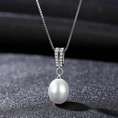 S925 naszyjnik duży V projekt z 3A cyrkon perła wisiorek proste damska biżuteria