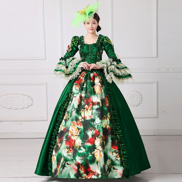18th royal baroque green ball gown Medieval dress court queen ...