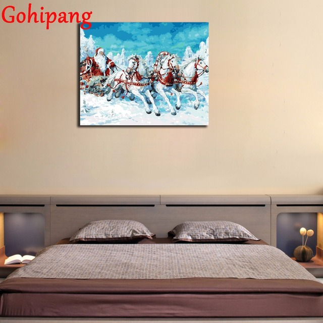 christmas deco santa claus riding horse acrylic paint painting on canvas framed brush diy painting on - Diy Canvas Frame