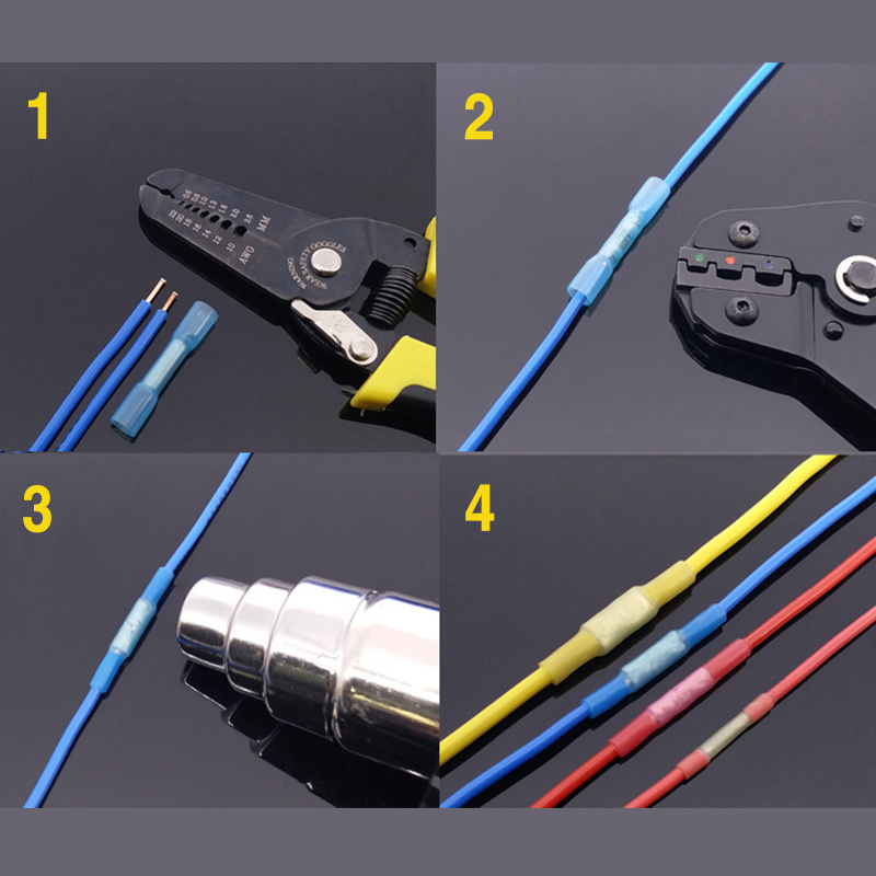 100pcs electrical terminals wire connectorl Colorful Heat Shrink Butt Electrical Crimp Terminals Wire Cable Connectors 1 928 404 195 connectors terminals housings 100