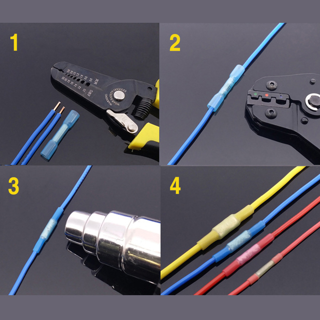 100pcs  electrical terminals wire connectorl Colorful  Heat Shrink Butt Electrical Crimp Terminals Wire Cable Connectors