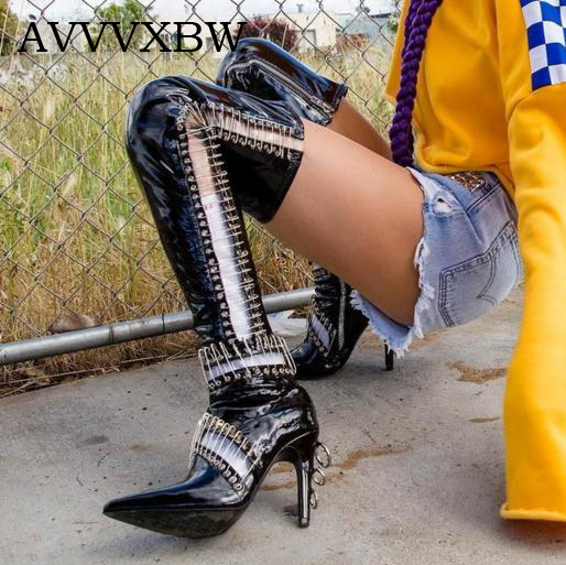 AVVVXBW Cool Motorcycle Boots Over-the-knee Boots 2017 Winter High-heeled Long Boots Women's Shoes Plus Size Botas Femininas avvvxbw 2016 brand women boots winter over the knee boots shoes woman sexy high heeled thigh high boots botas femininas c323