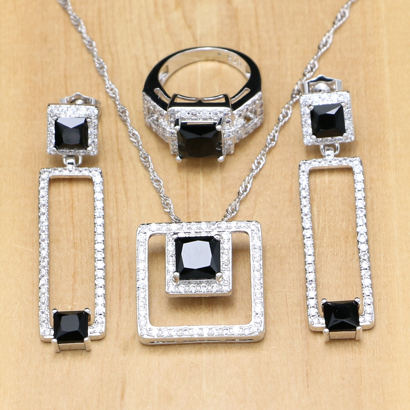 Bridal-Jewelry-Sets Pendant/ring/Necklace-set Beads Crystal Wedding Silver 925 Women