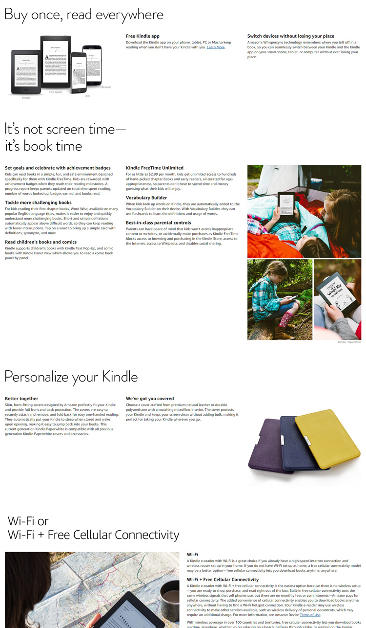 US $158 0 |Kindle Paperwhite 3nd Generation Black 4GB eBook Reader 6