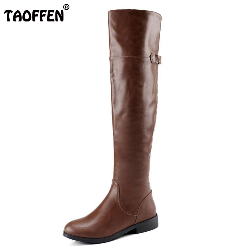 TAOFFEN Size 34-43 Women Over Knee Flats Boots Women Metal Long Boots Warm Fur Shoes Cold Winter Boots Snow Botas Woman Footwear news russia winter warm snow boots women real leather thickened fur knee boots woman flats zip shoes woman botas size 34 42
