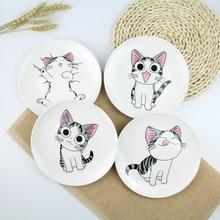 1 шт., креативные блюда с милым мультяшным котом, белые керамические тарелки, стейк в западном стиле, еда, рисовый суп, посуда из костяного фарфора, 8 дюймов
