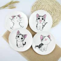 "1 PC Cute Cartoon Cat Creative Dishes White Ceramic Plates Steak Western-style Food Rice Soup Bone China Tableware 8"""