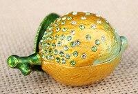 Citroen bejeweled sieraden doos fruit citroen vorm oorbel verpakking dozen Citroen Handgemaakte Jeweled Metal & Emaille Trinket Box