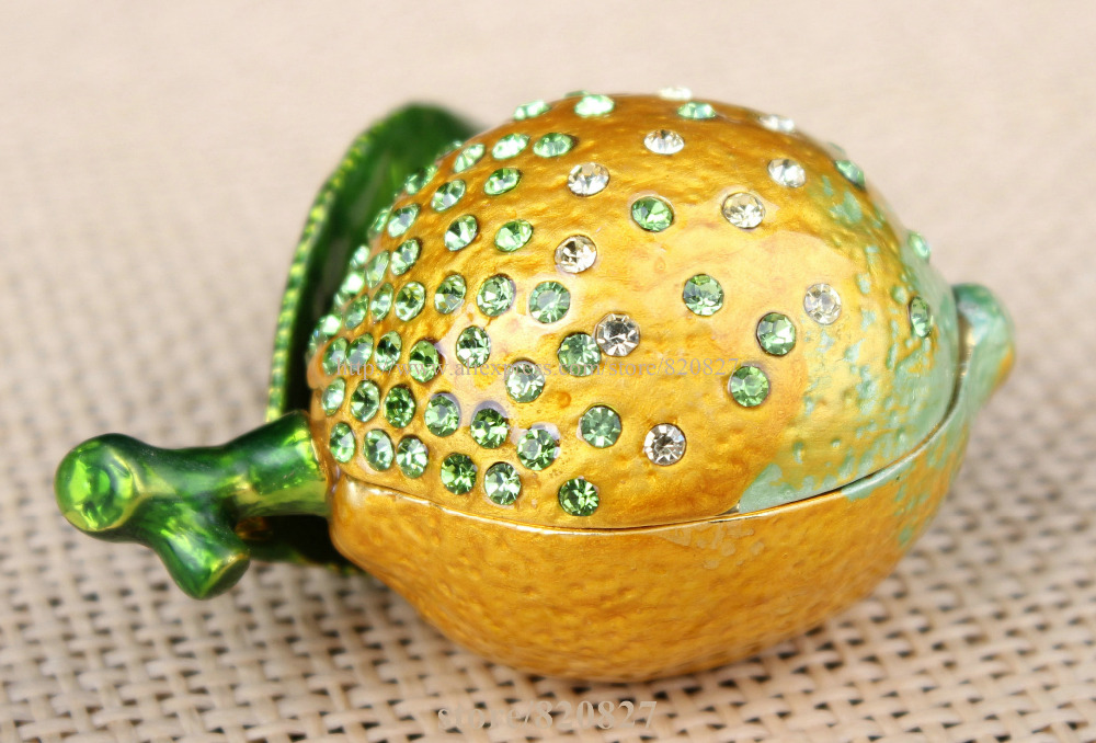 Lemon bejeweled jewelry box fruit lemon shape earring packaging boxes Lemon Handmade Jeweled Metal & Enamel Trinket Box
