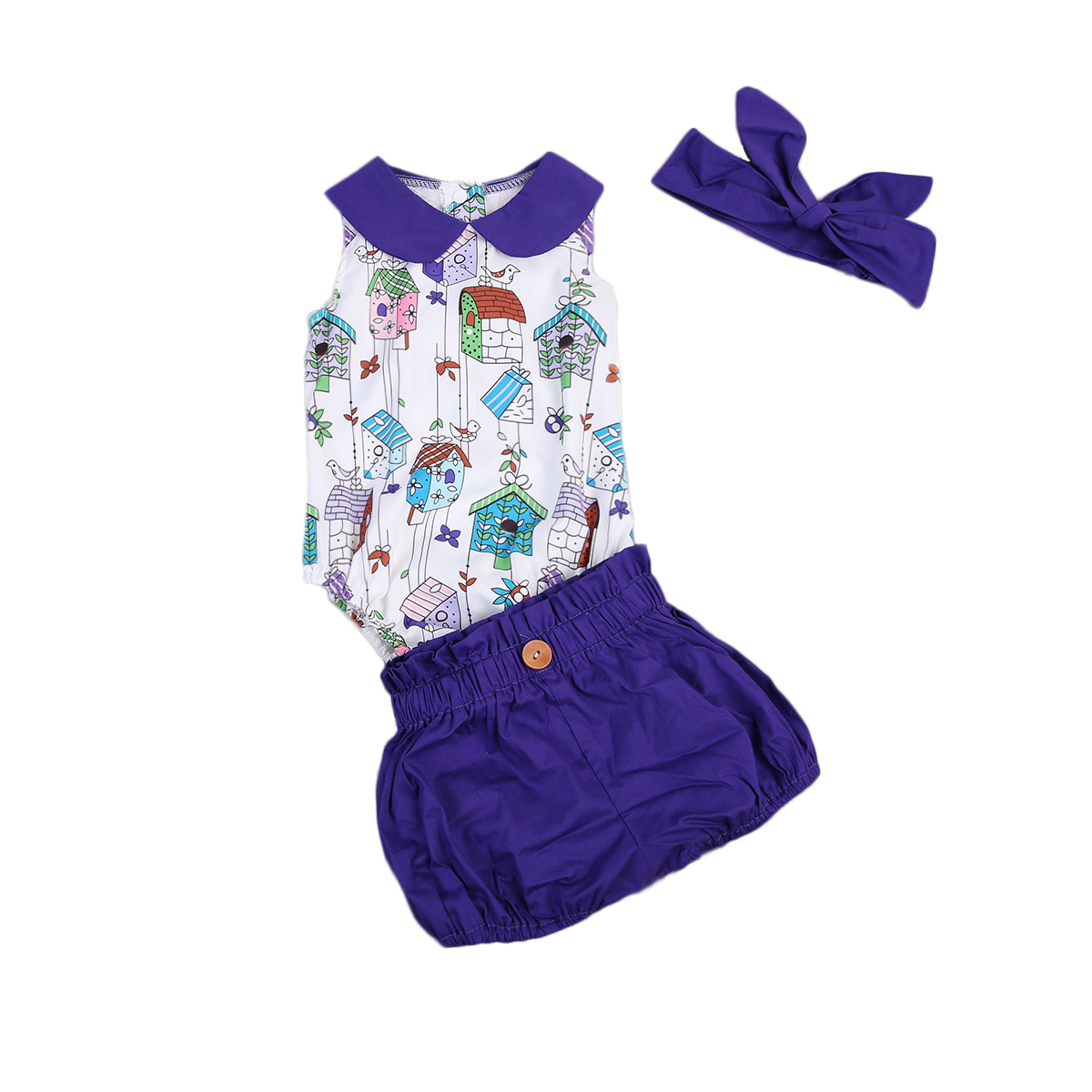 Cute Infant Baby Kids Girls Clothes Top Romper T-shirt Headband Pants Outfit Set Summer Clothing Toddler Girl 2PCS Clothing Set flower sleeveless vest t shirt tops vest shorts pants outfit girl clothes set 2pcs baby children girls kids clothing bow knot