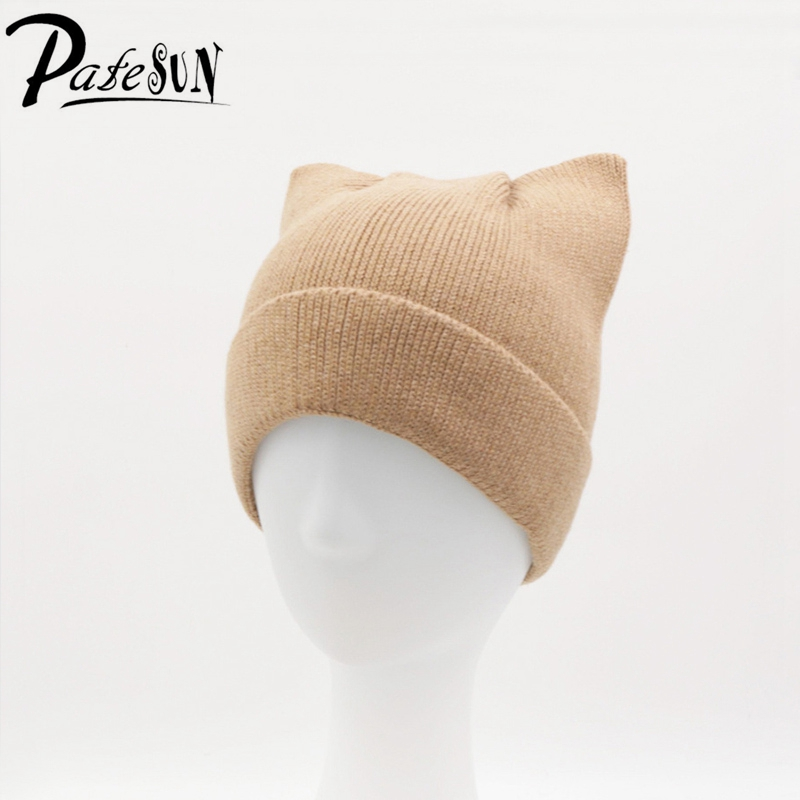 Patesun Autumn Winter Women's Hat Cute Kitty Caps for Girls Casual Solid Women Knitted Beanies Wool Gorros Female Cap династия династия 03 068