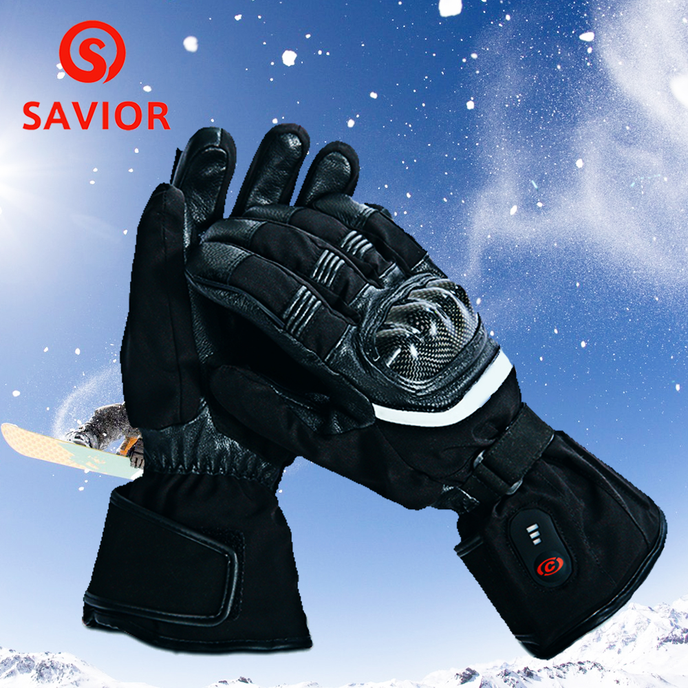 SAVIOR Motorcycle Heating Gloves Riding Racing Biking Winter Sports Electric Rechargeable Battery Heated Warm Gloves Cycling savior outdoor motorbike battery heated glove fishing waterproof riding racing heating man warming 40 65 degree leather en13594