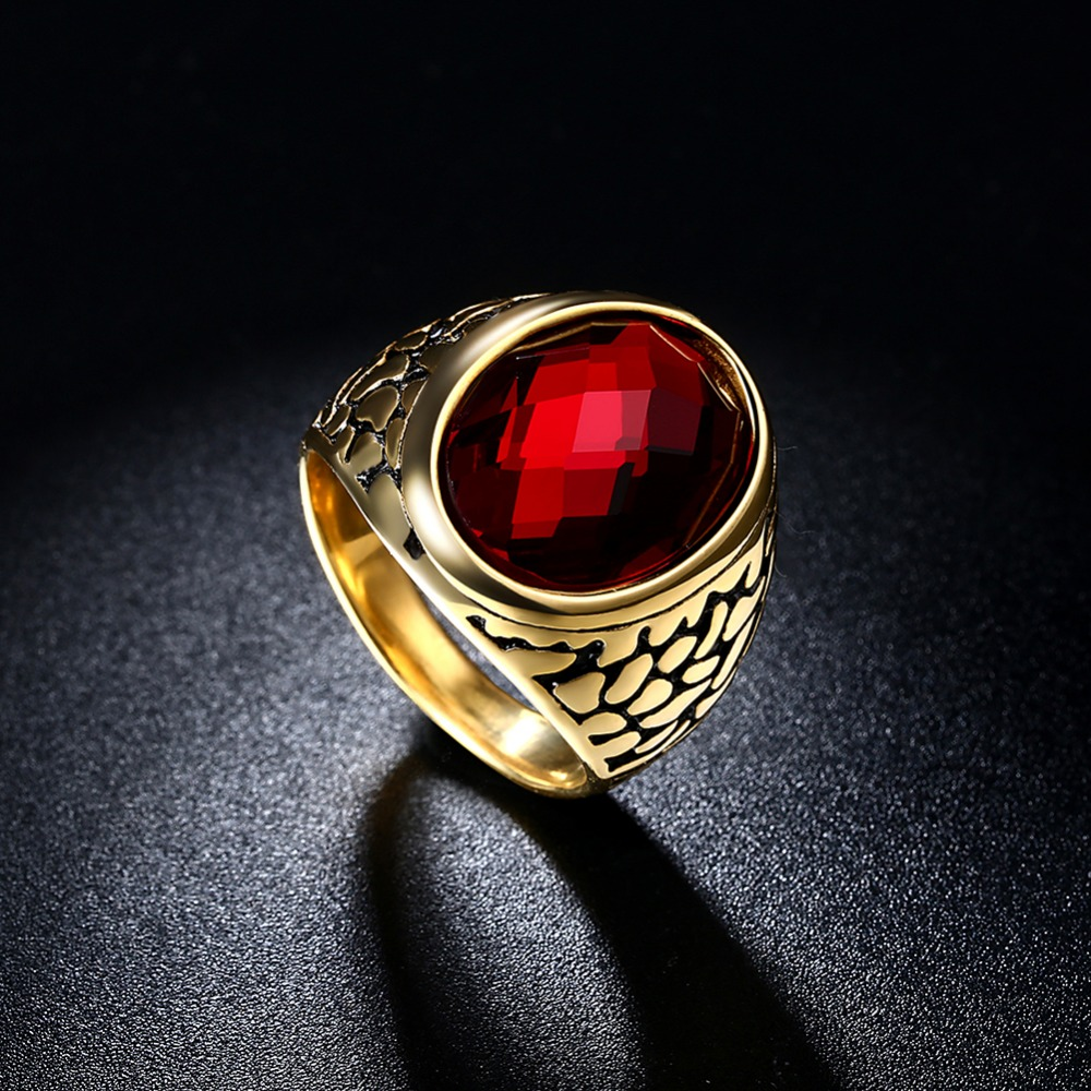 Fashion NEW Arrival Gold Color Retro pattern Style simple crystal stone antique big Man ring titanium steel ring