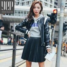New 2017 autumn fashion A type pu leather pleated skirt women elastic waist high quality original black mini skirt women faldas