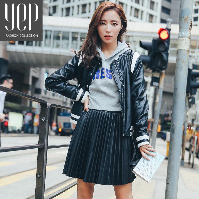 الجديد 2017 الخريف الأزياء وهناك نوع بو الجلود مطوي تنورة المرأة مرونة الخصر جودة عالية الأصلي الأسود البسيطة تنورة المرأة faldas