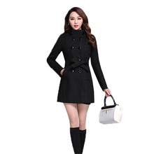 Double-Breasted Woolen Coat Women Large Size Slim Jacket 2019 Autumn Winter New Fashion Solid Color Female Outerwear FC59