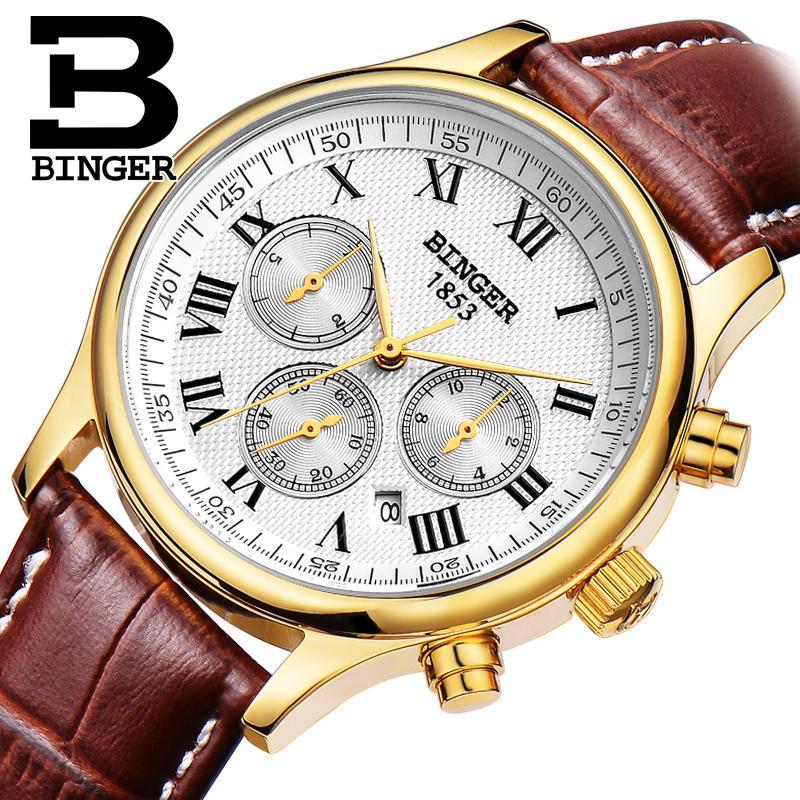 ФОТО Switzerland watches men luxury brand Wristwatches BINGER Mechanical Wristwatches leather strap Waterproof B6036-7