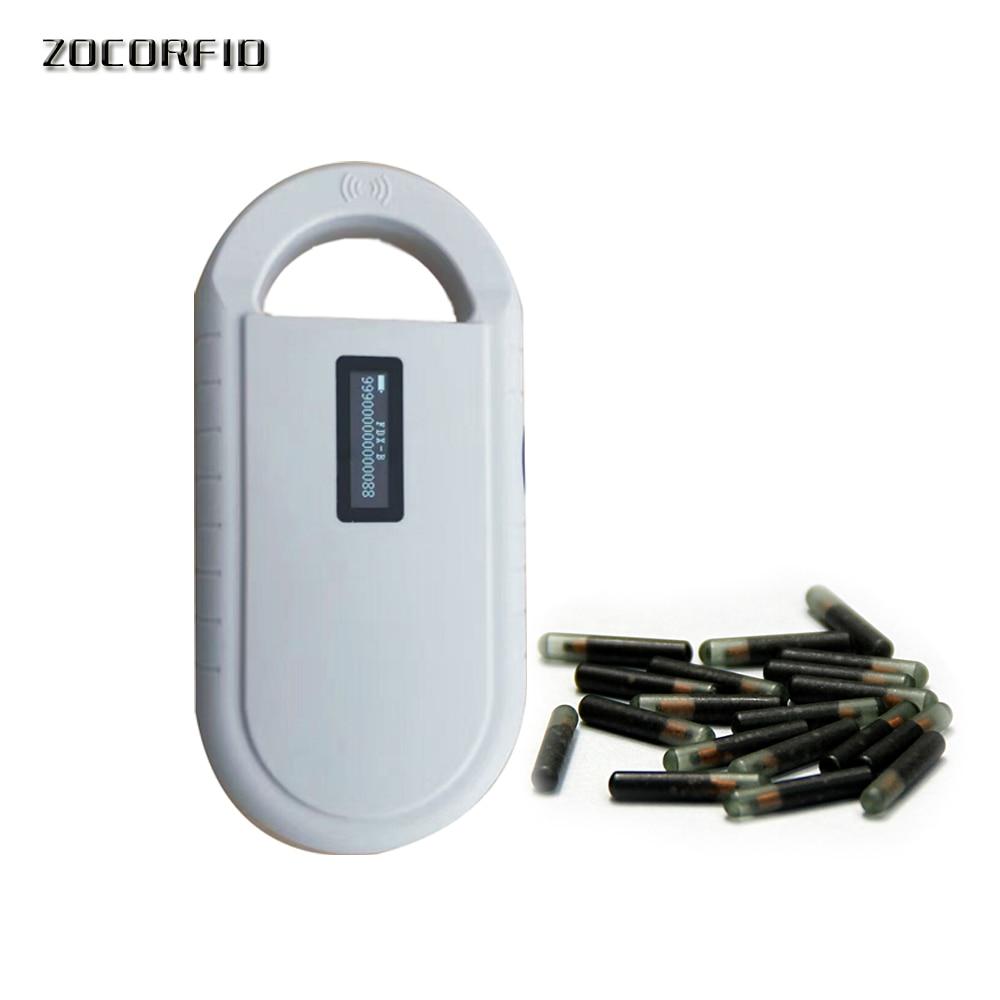 Купить с кэшбэком 50pcs 134.2KHz Stanard ISO Chip FDX-B 2.12*12mm RFID microchip injector Animal syringe with glass tags+1 pcs reader