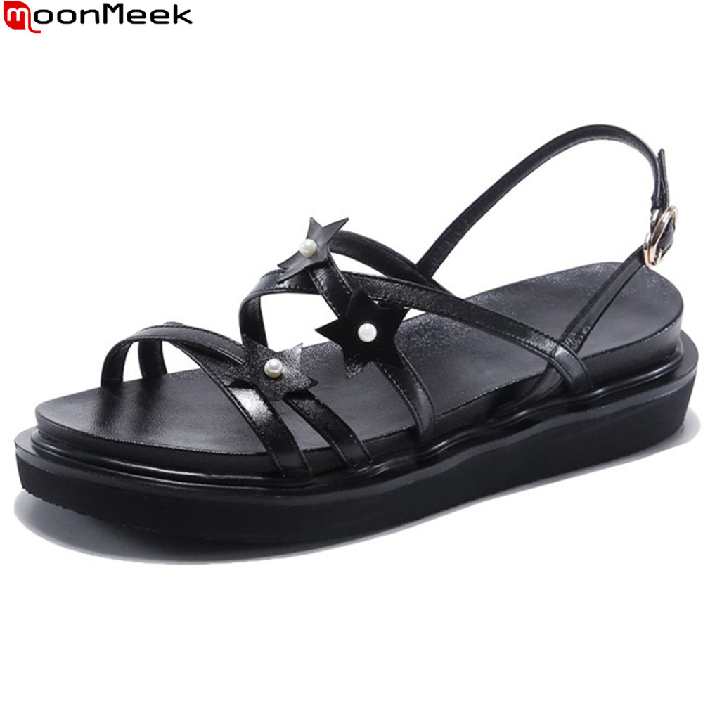 MoonMeek black pink white fashion summer ladies shoes buckle casual wedges platform comfortable women genuine leather sandals women sandals 2017 summer shoes woman wedges fashion gladiator platform female slides ladies casual shoes flat comfortable