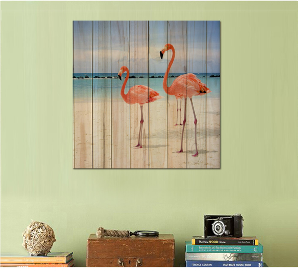 Visual Art Decor Flamingos Sea Beach Seawave Wood Board Background ...