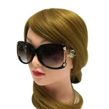 النظارات الشمسية النساء الفاخرة العلامة التجارية مصمم السيدات سبيكة الإطار الذهب الثعلب الديكور نظارات شمسية بنات 4 ألوان