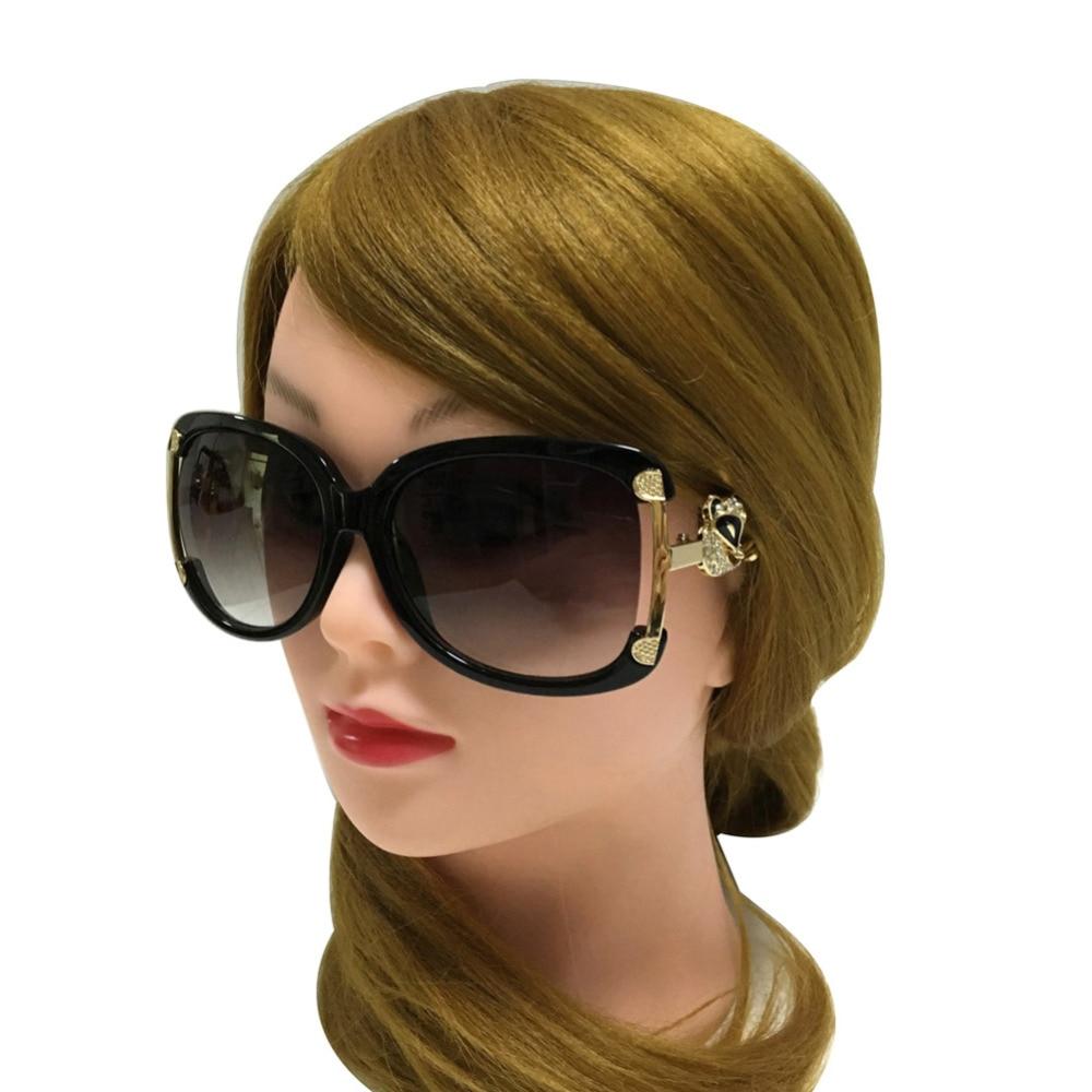 Cermin mata hitam Wanita Mewah Brand Designer Ladies aloi Frame Gold Fox Hiasan Kaca Sun Glasses Girls 4 Warna