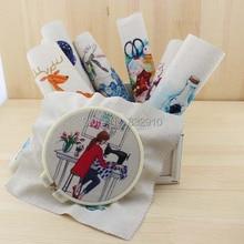 Mão tingido 7 assorted cotton linen impresso quilt tecido para diy costura patchwork home textile decor 20×20 cm handmade quente vida