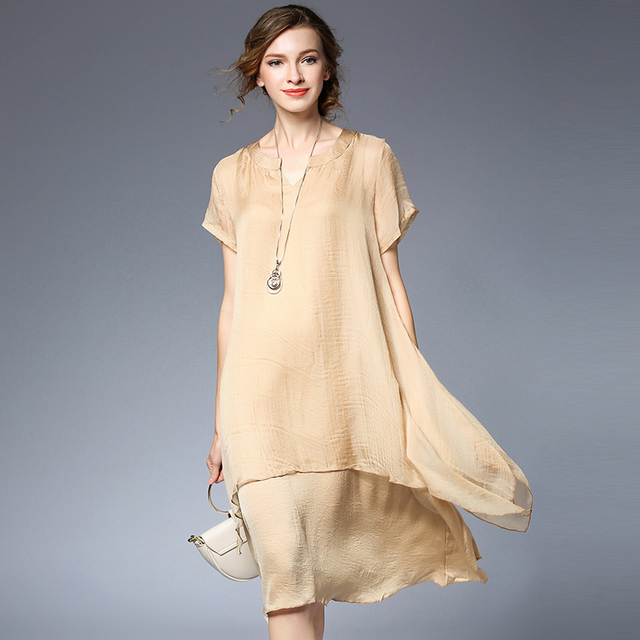 b3621e699c0b New2017Summer women elegant satin silk chiffon dress Plus Size loose faux  two dress female asymmetrical casual vestido XXXXL6398