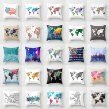 Elife Retro Map Linen cotton Polyester cushion case Polyester Home Decor Bedroom Decorative Sofa Car Throw Pillows 45*45CM cheap Cusion Removable and Washable Woven Square Printed American Style Seat geometric Adults Cushion cover 其它