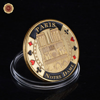Hot New Gold Plated Coin Paris , France Coin Notre Dame Cathedral Custom Challenge Coin Bank