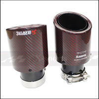 Akrapovic Car styling Exhaust Tail RED twill Glossy Carbon Muffler Tip Tail End Universal Stainless stee Curly black