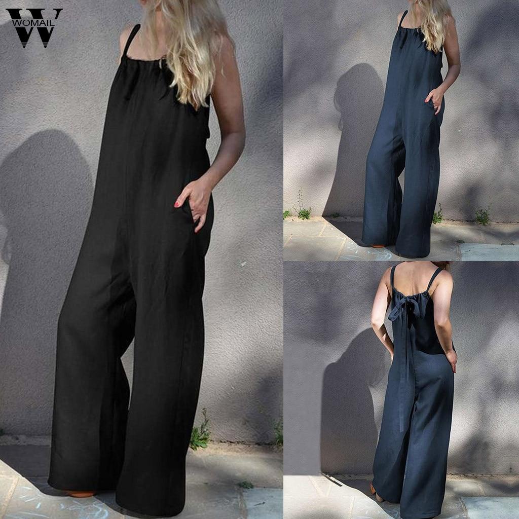 Womail Bodysuit Women Fashion Summer Sleeveless Long Jumpsuit Loose Clubwear Pocket Wide Leg Jumpsuit Plus Size Casual 2019 M530