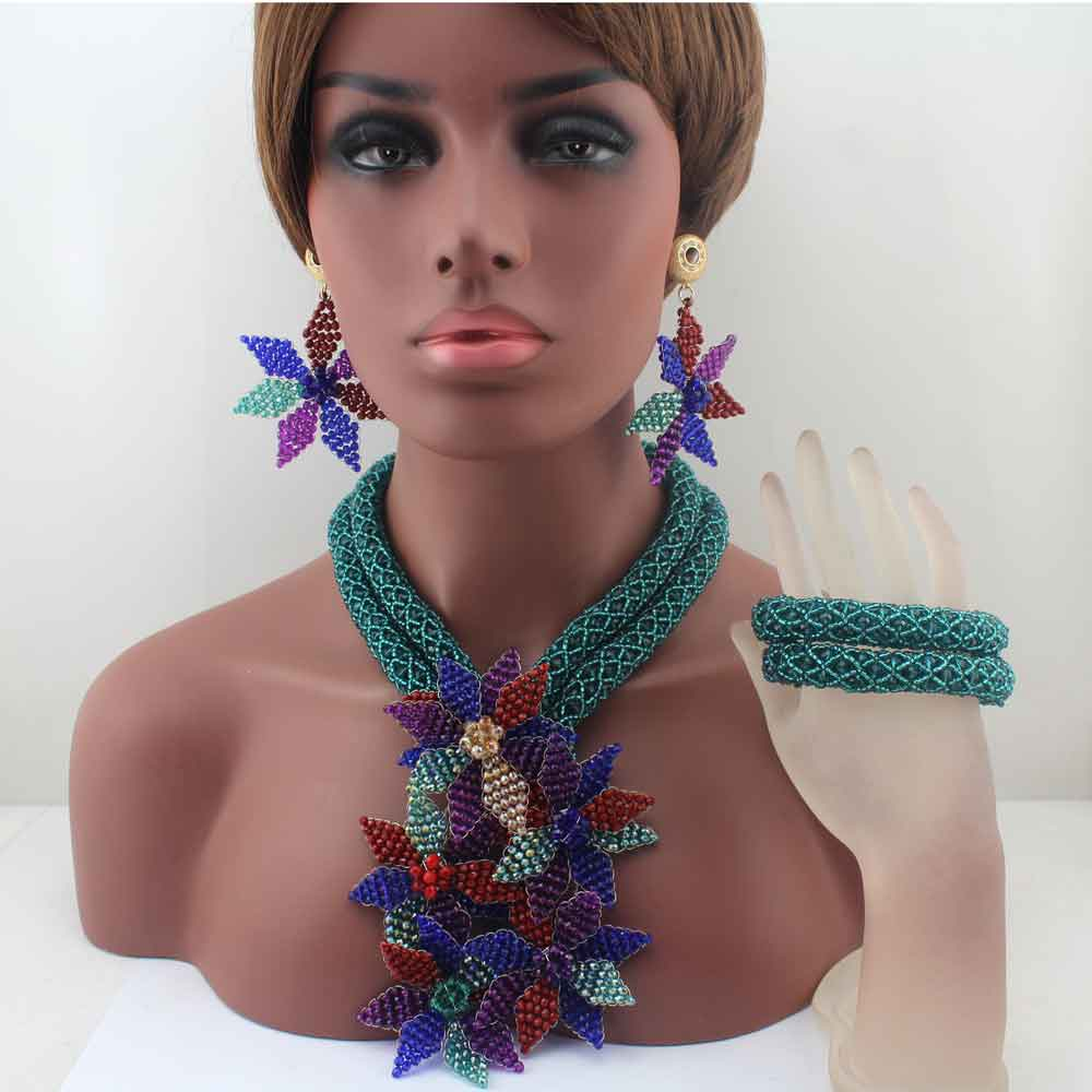 Fashion Peacock Green Crystal Flower Handmade Beads Jewelry Sets African Wedding Party Necklace Jewelry Set Free Shipping HD8635Fashion Peacock Green Crystal Flower Handmade Beads Jewelry Sets African Wedding Party Necklace Jewelry Set Free Shipping HD8635