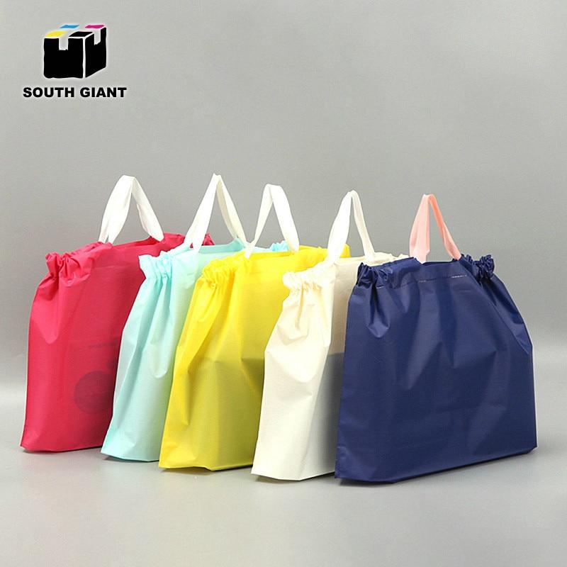 100pcs Custom EVA Plastic Shopping Bag With Logo For Retail Brand Garment Shoes Boutique Cosmetic DIY