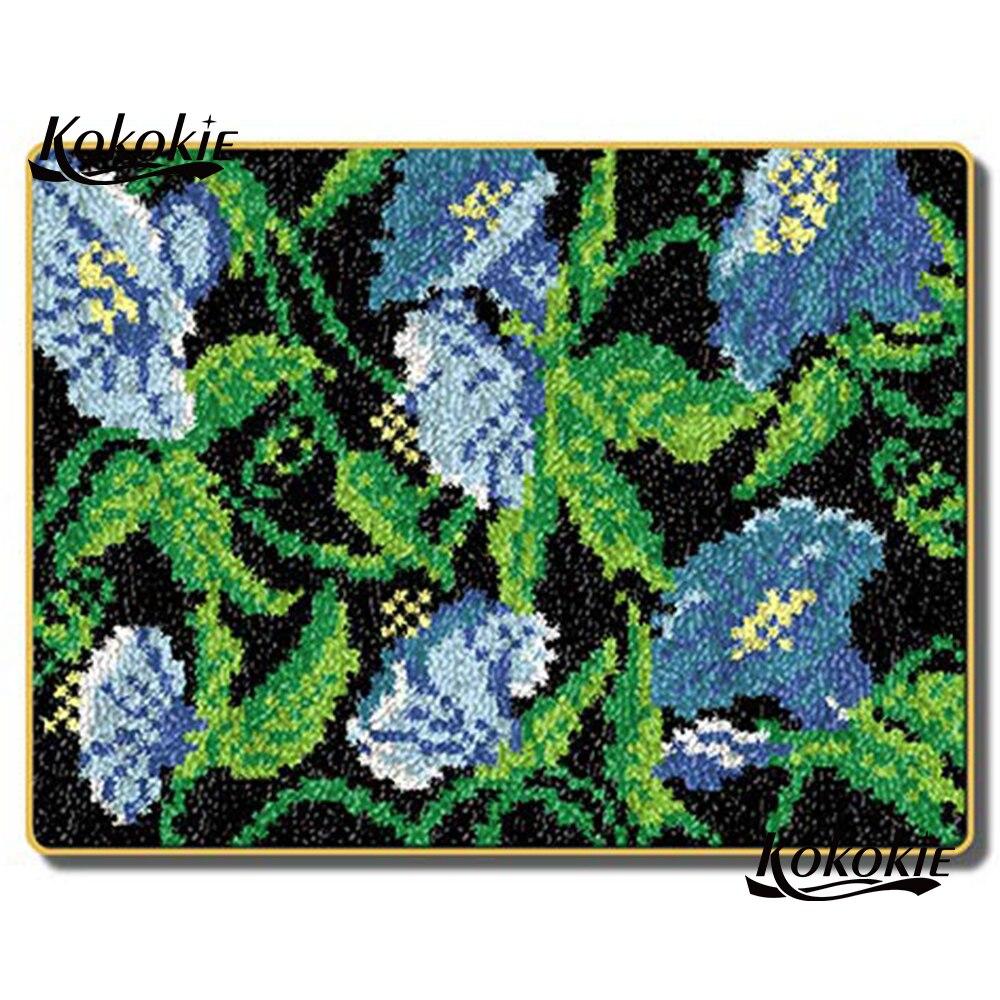 Diy tapijt крюк защелка ковер холст 3d печать цветок handwerken нооппакет иглы для вязания крючком для ковра вышивка ручной работы Декор