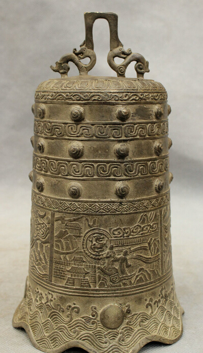 JP S0114 Tibet Old Bronze Buddhist Temple Carved Dragon Monk Lucky Patterns Statue Bell