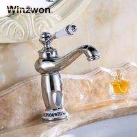 8 Chrome Golden Faucets Bathroom Sink Basin Porcelain Brass Faucet Mixer Tap Hot and Cold Single Handle Torneira Vintage