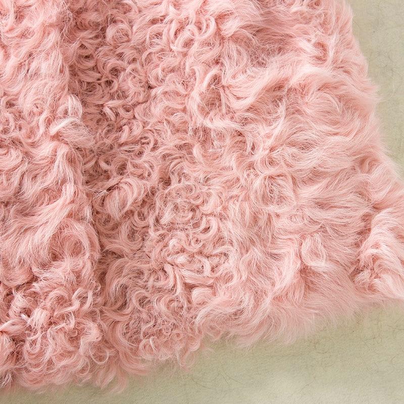 Réel Femme Manteaux Pink Agneau Rose Hiver Fourrure Light Gilet Manteau Véritable pink Lumière Femmes De Moutons 4zU0Tqq