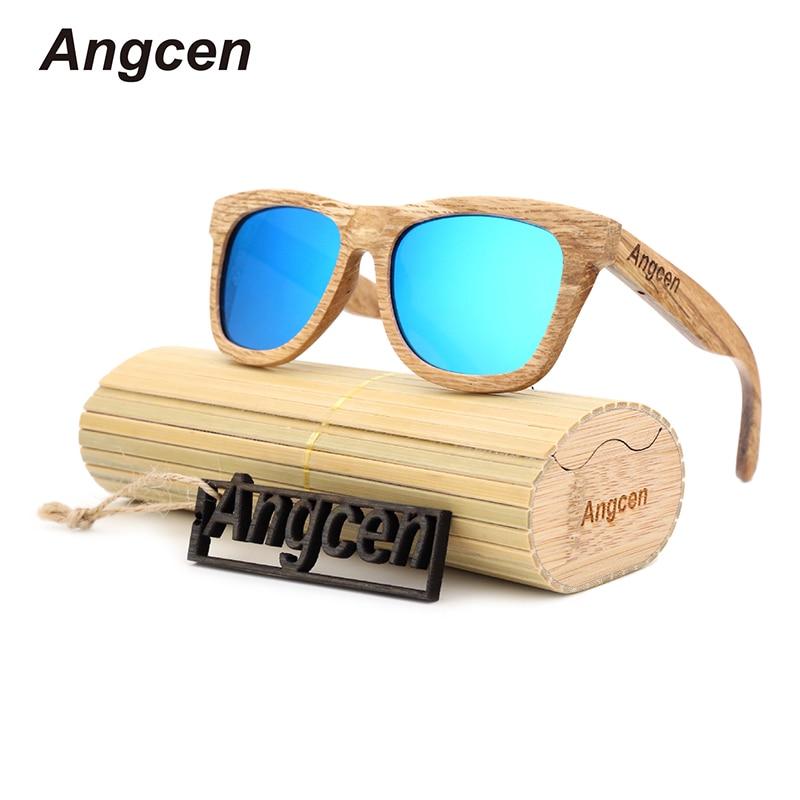 Angcen nuevo paquete de moda restaurar formas antiguas protección del medio ambiente natural hombre de madera de bambú gafas de sol polarizadas DA78