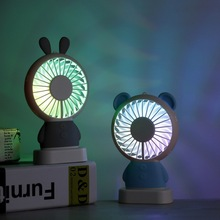 Exquisite rabbit mini handheld fan manufacturers Korea explosion models Dharma bear night light usb charging # six colors
